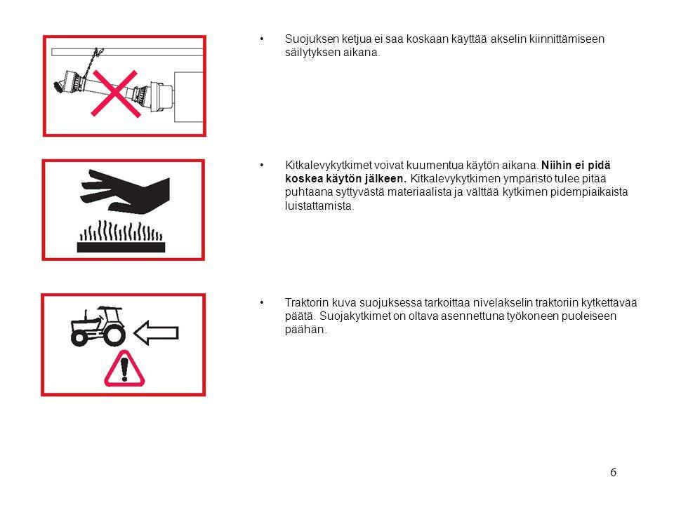 Suojuksen ketjua ei saa koskaan käyttää akselin kiinnittämiseen säilytyksen aikana.