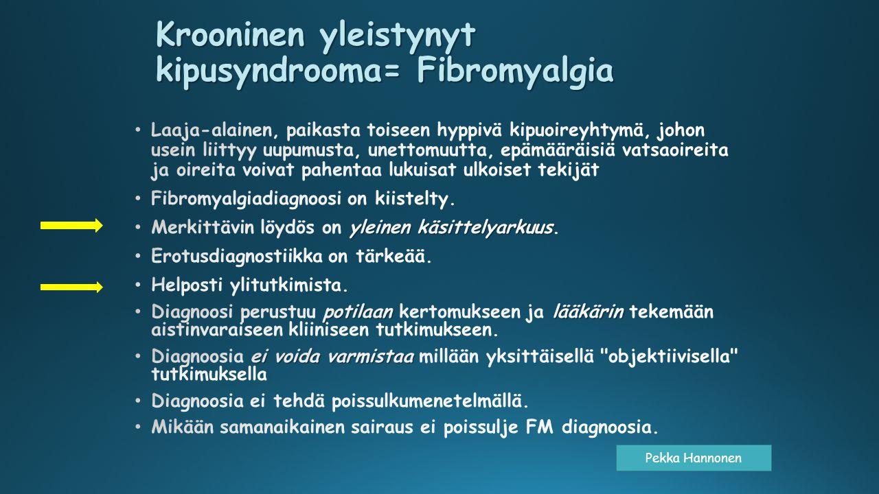 Krooninen yleistynyt kipusyndrooma= Fibromyalgia