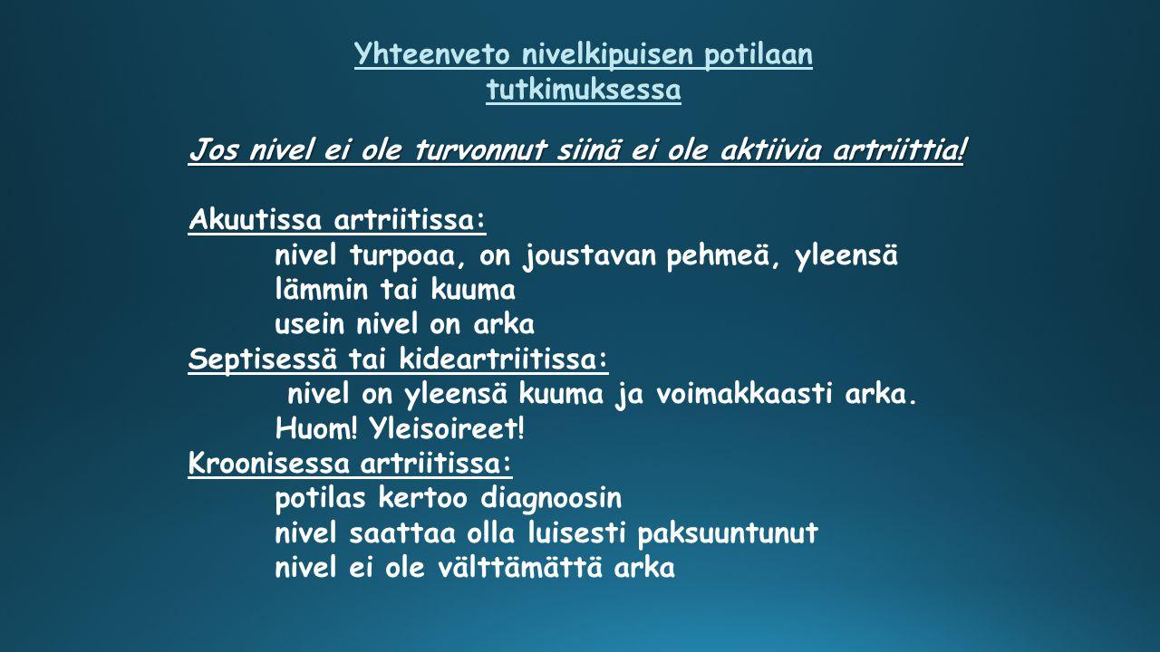 Yhteenveto nivelkipuisen potilaan tutkimuksessa