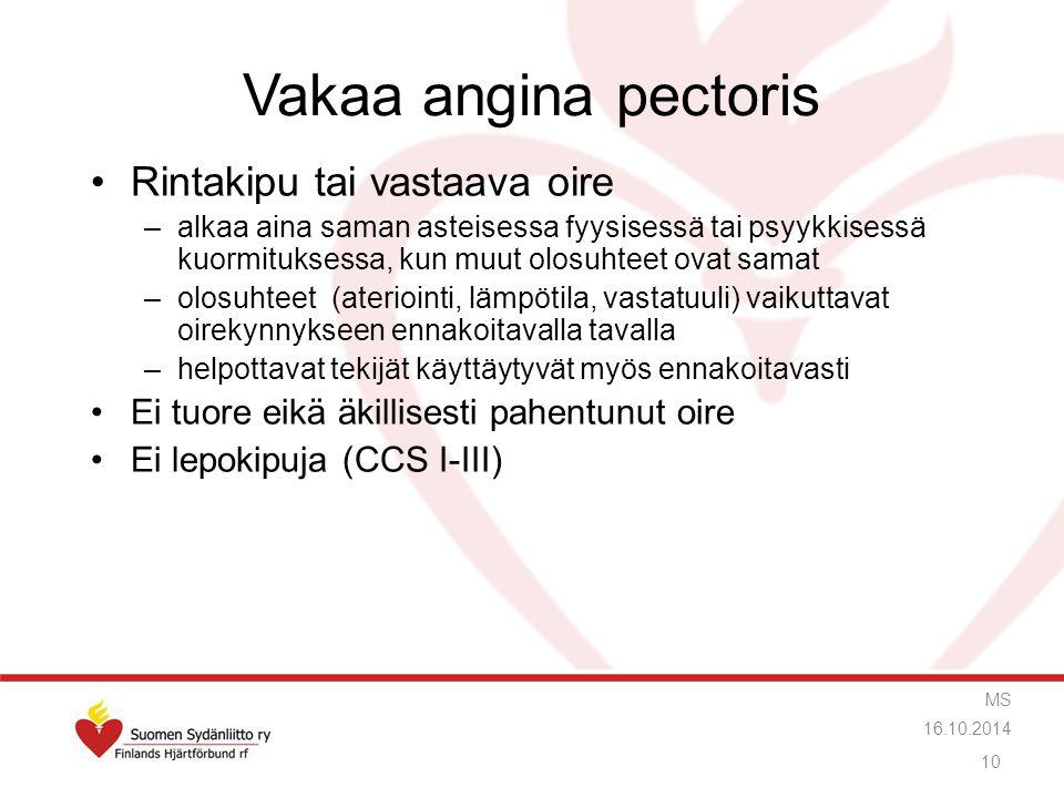 Vakaa angina pectoris Rintakipu tai vastaava oire