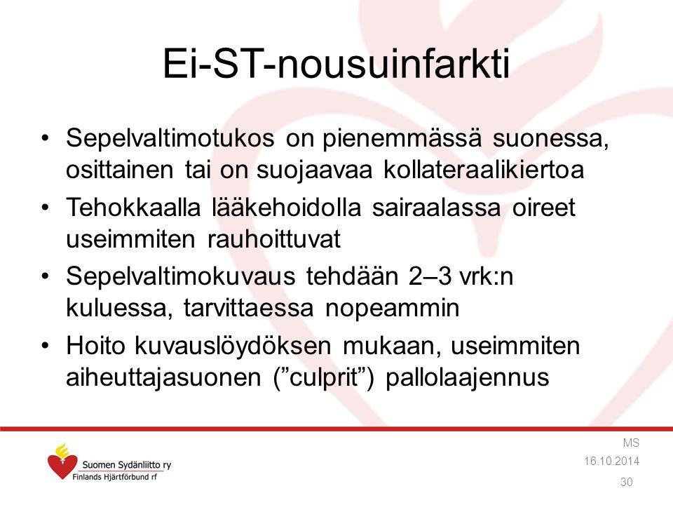 Ei-ST-nousuinfarkti Sepelvaltimotukos on pienemmässä suonessa, osittainen tai on suojaavaa kollateraalikiertoa.