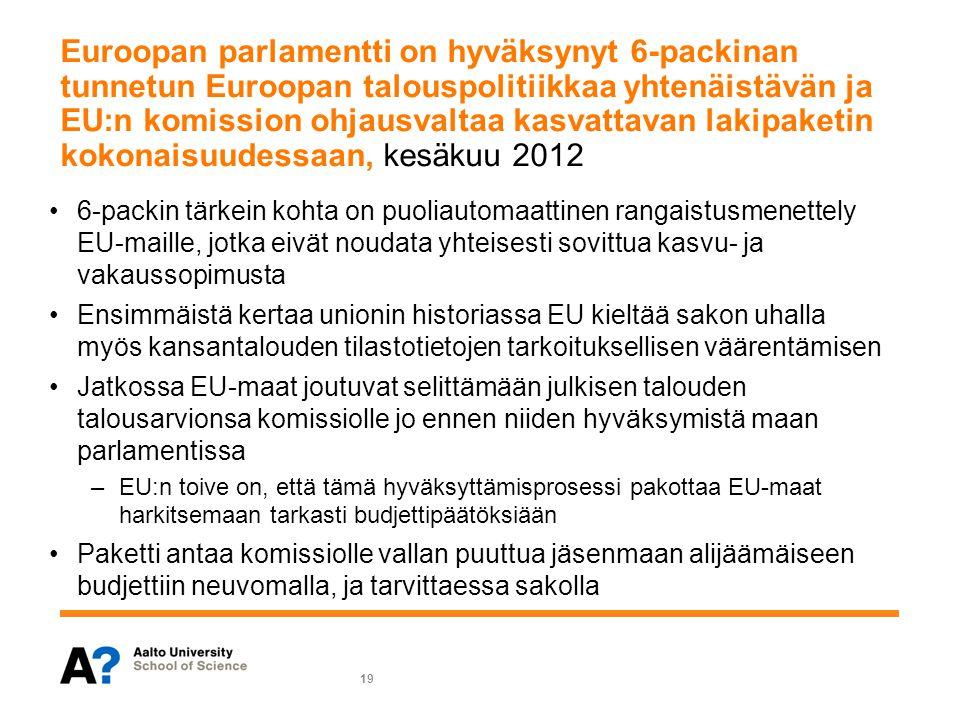 Euroopan parlamentti on hyväksynyt 6-packinan tunnetun Euroopan talouspolitiikkaa yhtenäistävän ja EU:n komission ohjausvaltaa kasvattavan lakipaketin kokonaisuudessaan, kesäkuu 2012