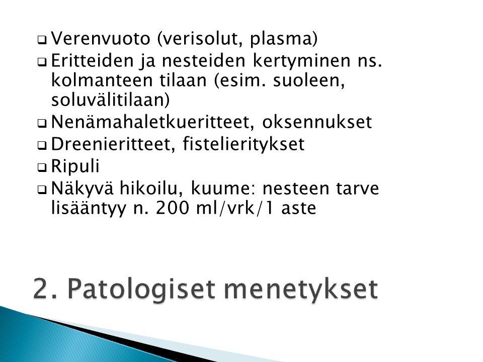2. Patologiset menetykset