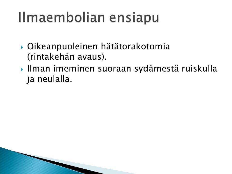 Ilmaembolian ensiapu Oikeanpuoleinen hätätorakotomia (rintakehän avaus).