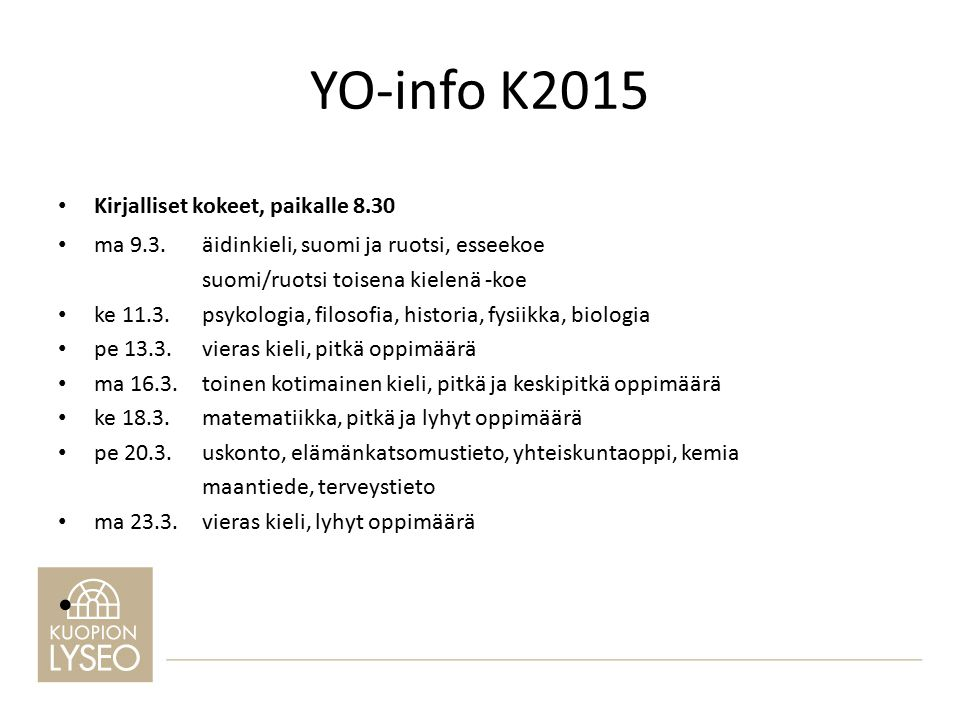 YO-info K ppt lataa