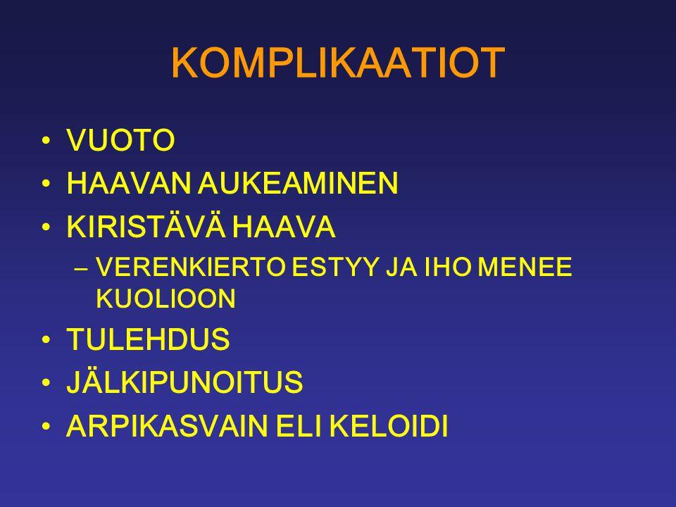 KOMPLIKAATIOT VUOTO HAAVAN AUKEAMINEN KIRISTÄVÄ HAAVA TULEHDUS