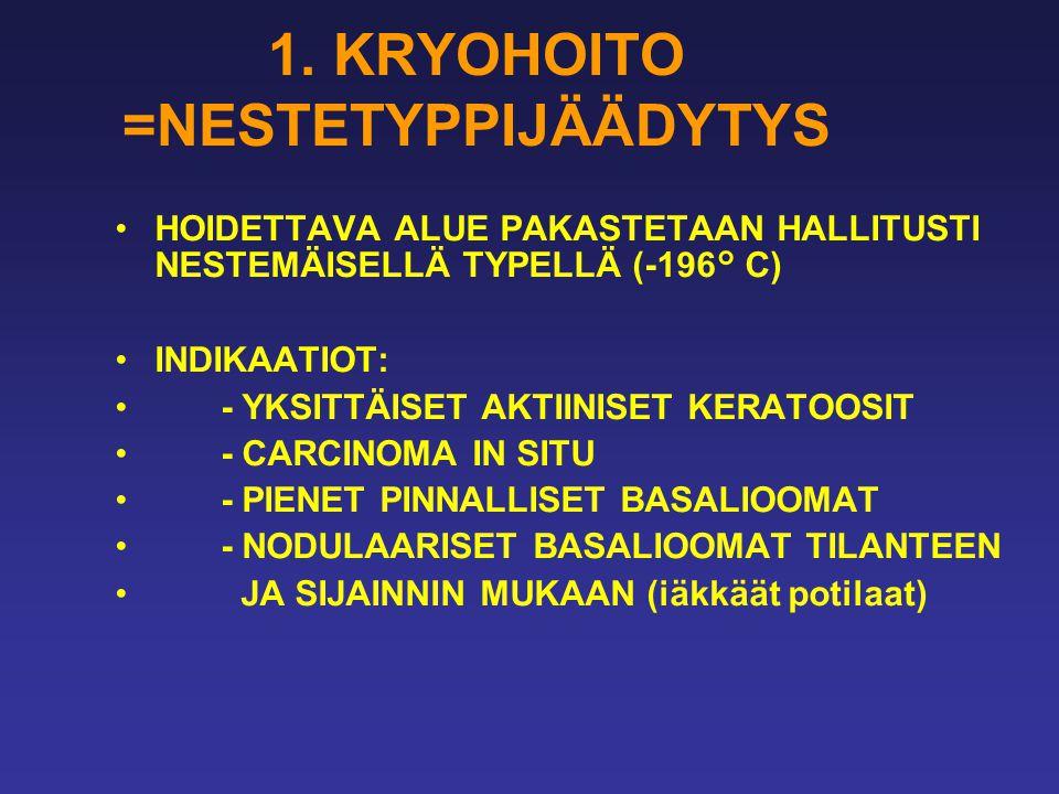 1. KRYOHOITO =NESTETYPPIJÄÄDYTYS