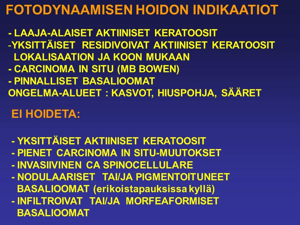 FOTODYNAAMISEN HOIDON INDIKAATIOT