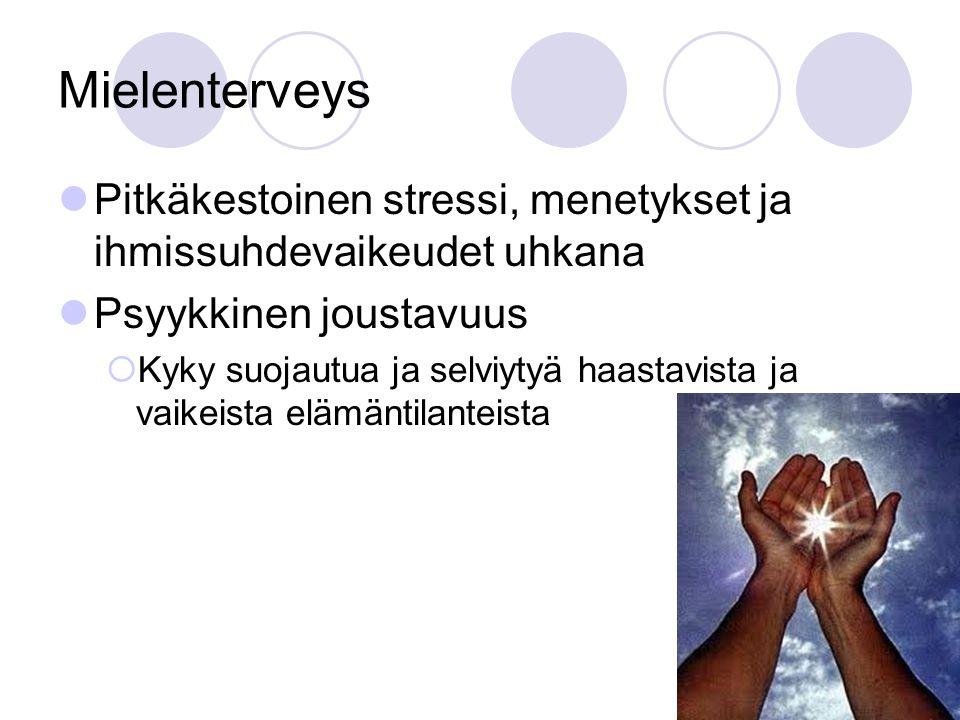 Mielenterveys Pitkäkestoinen stressi, menetykset ja ihmissuhdevaikeudet uhkana. Psyykkinen joustavuus.