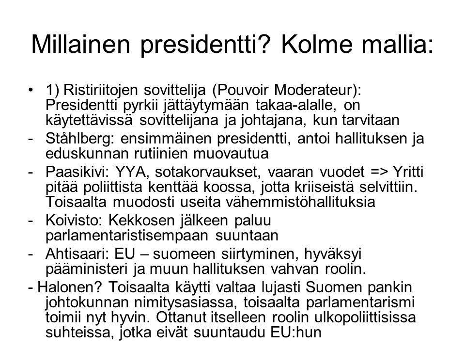 Millainen presidentti Kolme mallia: