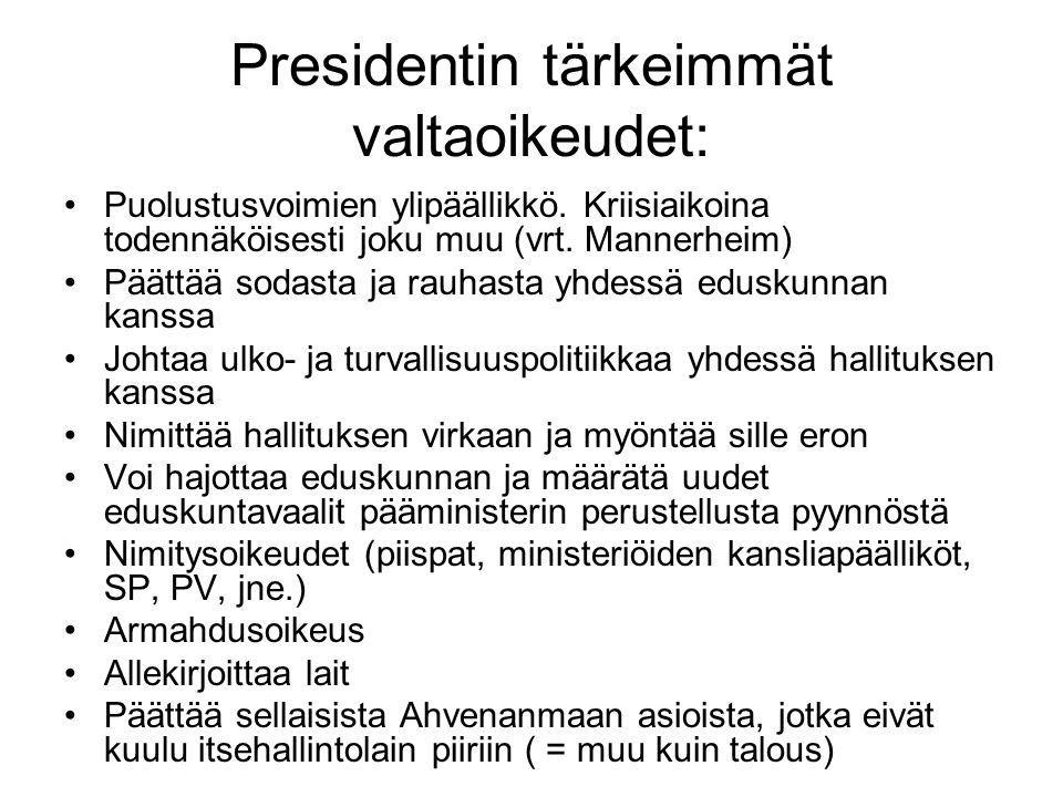 Presidentin tärkeimmät valtaoikeudet:
