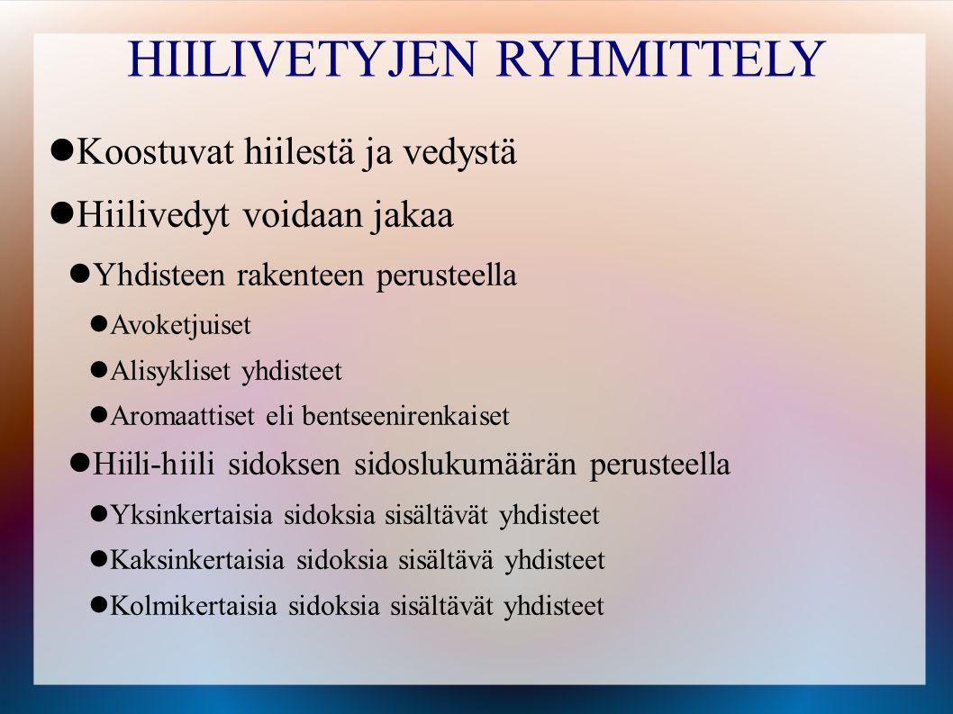 HIILIVETYJEN RYHMITTELY