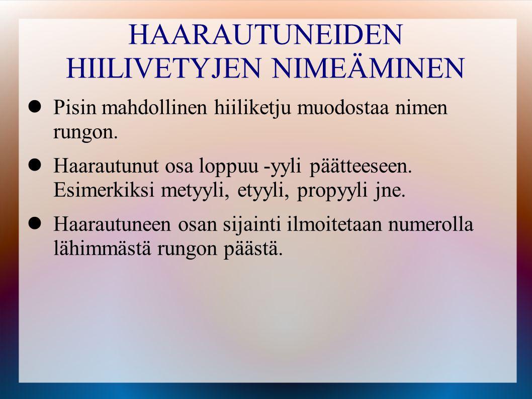 HAARAUTUNEIDEN HIILIVETYJEN NIMEÄMINEN