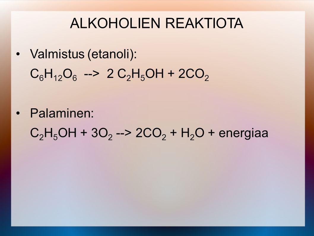 ALKOHOLIEN REAKTIOTA Valmistus (etanoli):