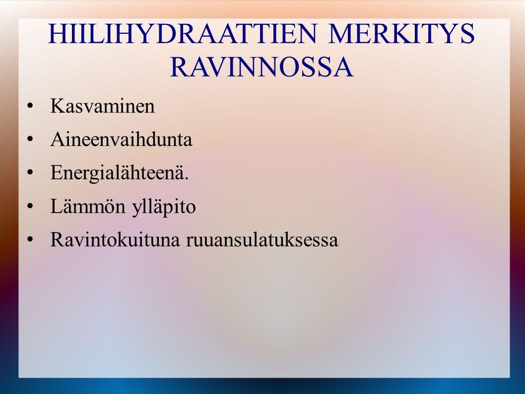 HIILIHYDRAATTIEN MERKITYS RAVINNOSSA
