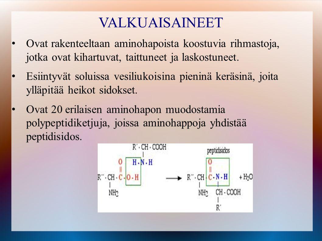 VALKUAISAINEET Ovat rakenteeltaan aminohapoista koostuvia rihmastoja, jotka ovat kihartuvat, taittuneet ja laskostuneet.