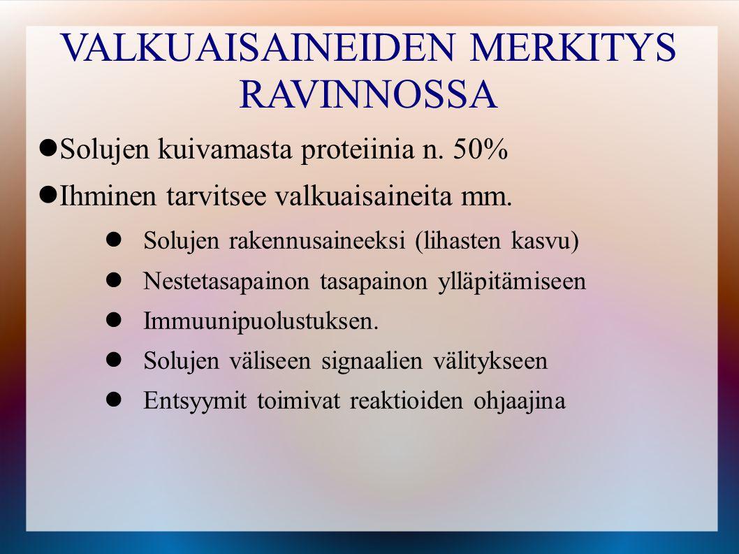VALKUAISAINEIDEN MERKITYS RAVINNOSSA