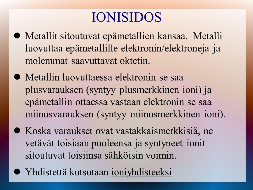 IONISIDOS Metallit sitoutuvat epämetallien kansaa. Metalli luovuttaa epämetallille elektronin/elektroneja ja molemmat saavuttavat oktetin.