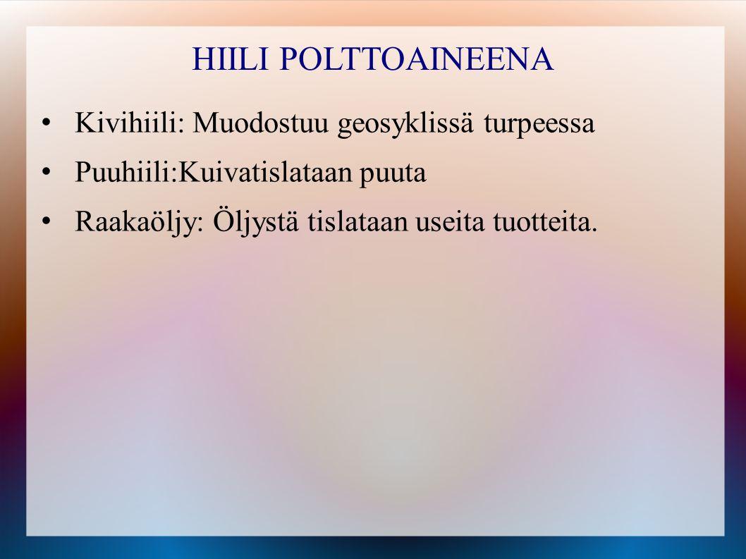 HIILI POLTTOAINEENA Kivihiili: Muodostuu geosyklissä turpeessa