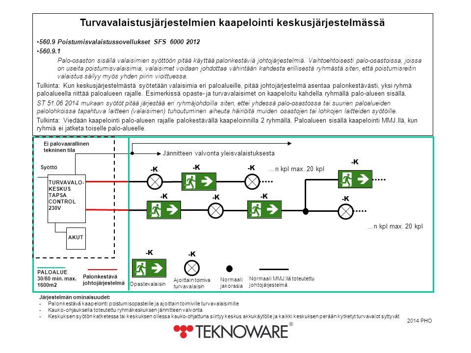Turvavalaistusjärjestelmien kaapelointi keskusjärjestelmässä