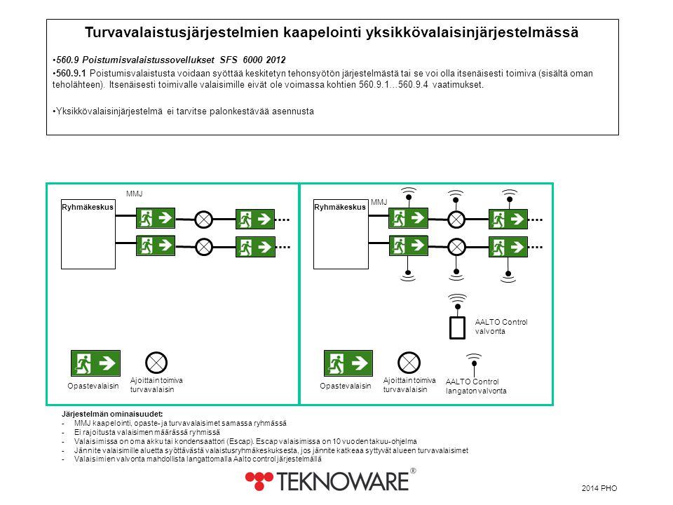 Turvavalaistusjärjestelmien kaapelointi yksikkövalaisinjärjestelmässä
