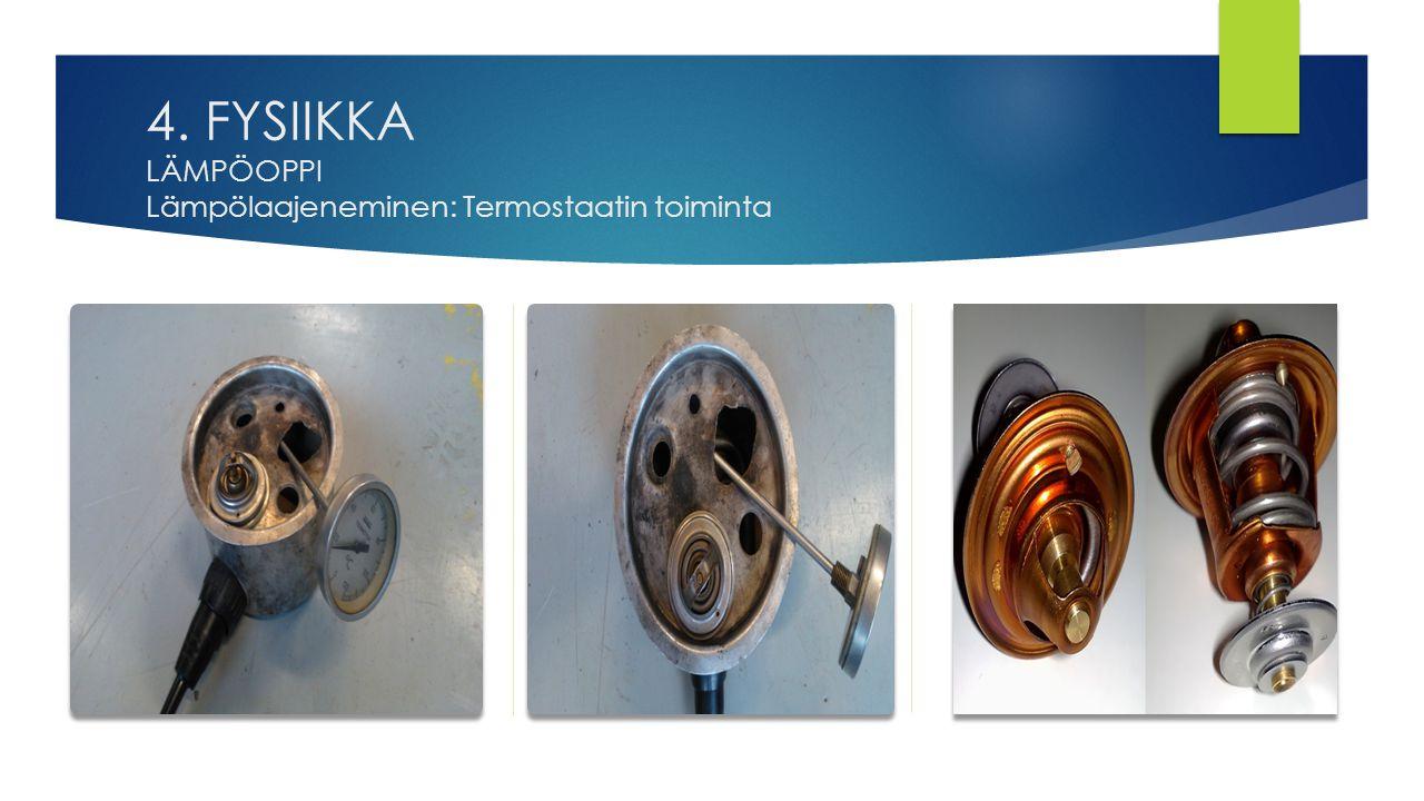 4. FYSIIKKA LÄMPÖOPPI Lämpölaajeneminen: Termostaatin toiminta