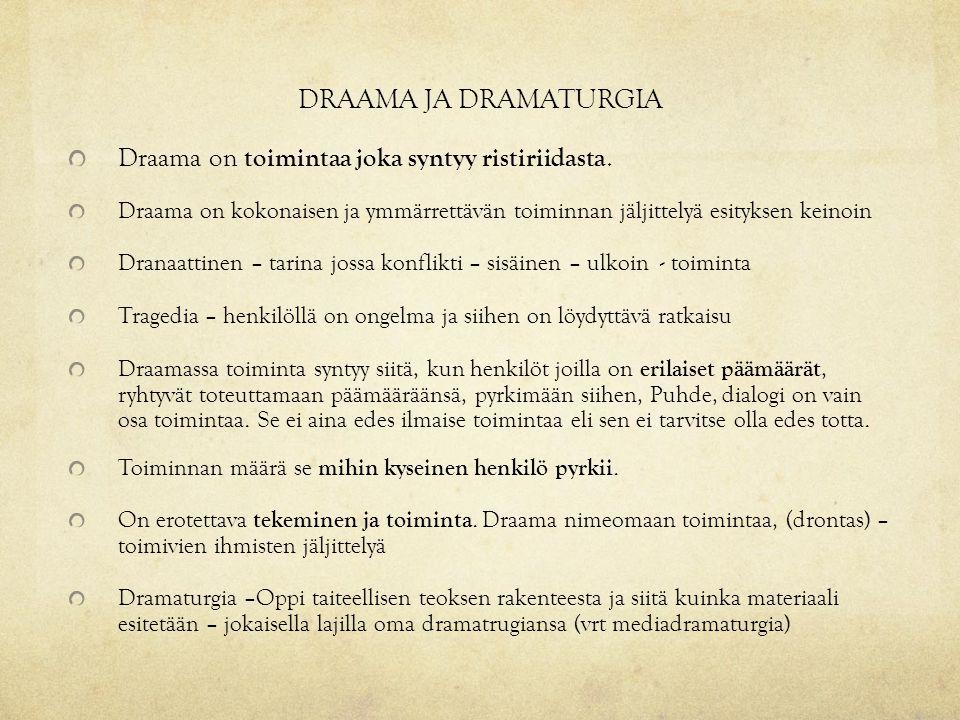DRAAMA JA DRAMATURGIA Draama on toimintaa joka syntyy ristiriidasta.