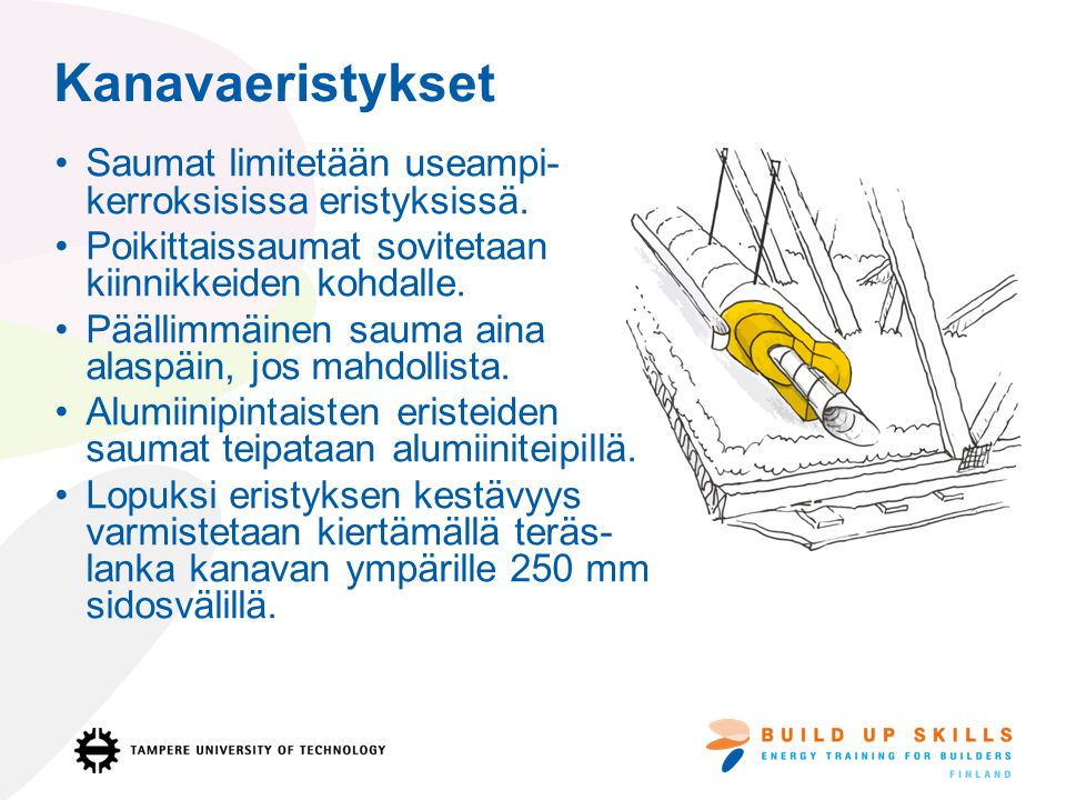 Kanavaeristykset Saumat limitetään useampi- kerroksisissa eristyksissä. Poikittaissaumat sovitetaan kiinnikkeiden kohdalle.