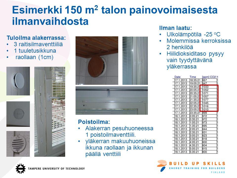 Esimerkki 150 m2 talon painovoimaisesta ilmanvaihdosta