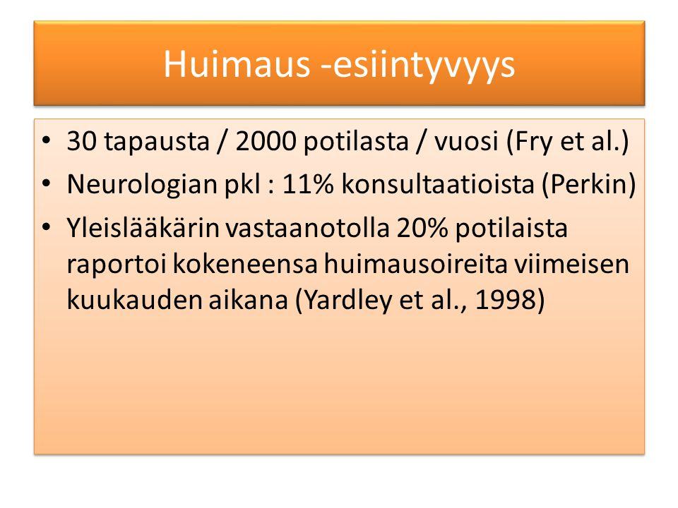 Huimaus -esiintyvyys 30 tapausta / 2000 potilasta / vuosi (Fry et al.)