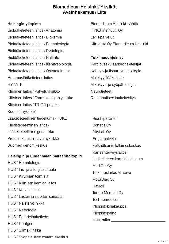 Biomedicum Helsinki / Yksiköt