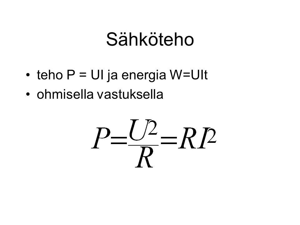 Sähköteho teho P = UI ja energia W=UIt ohmisella vastuksella