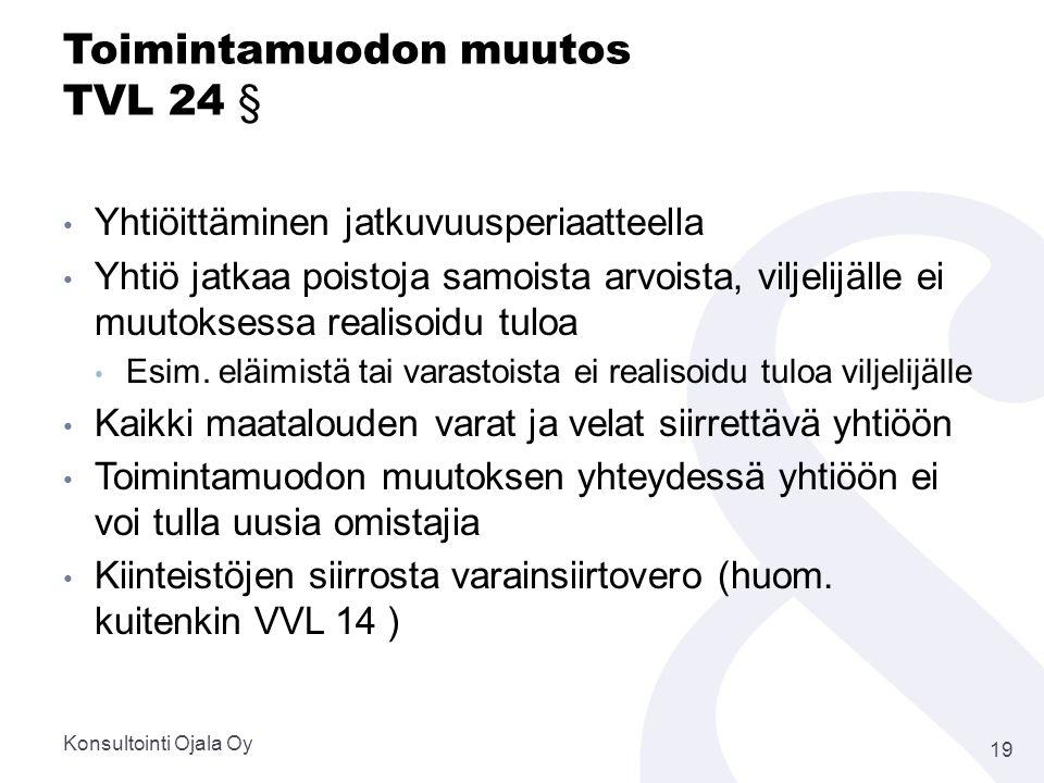 Toimintamuodon muutos TVL 24 §