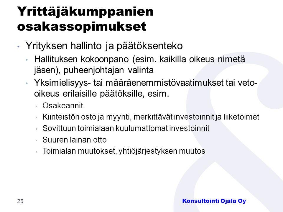 Yrittäjäkumppanien osakassopimukset