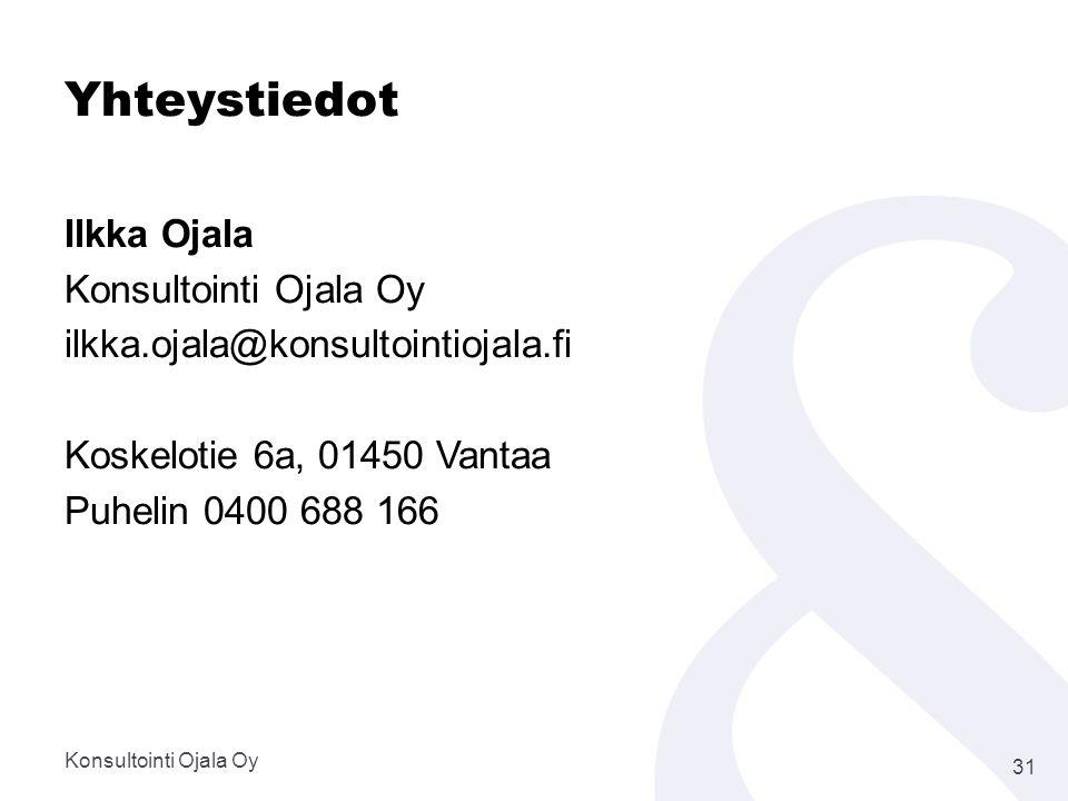 Yhteystiedot Ilkka Ojala Konsultointi Ojala Oy ilkka.ojala@konsultointiojala.fi Koskelotie 6a, 01450 Vantaa Puhelin 0400 688 166