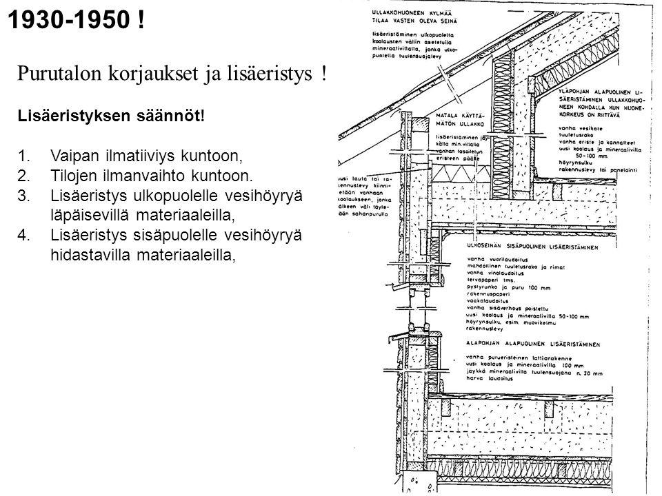 1930-1950 ! Purutalon korjaukset ja lisäeristys !