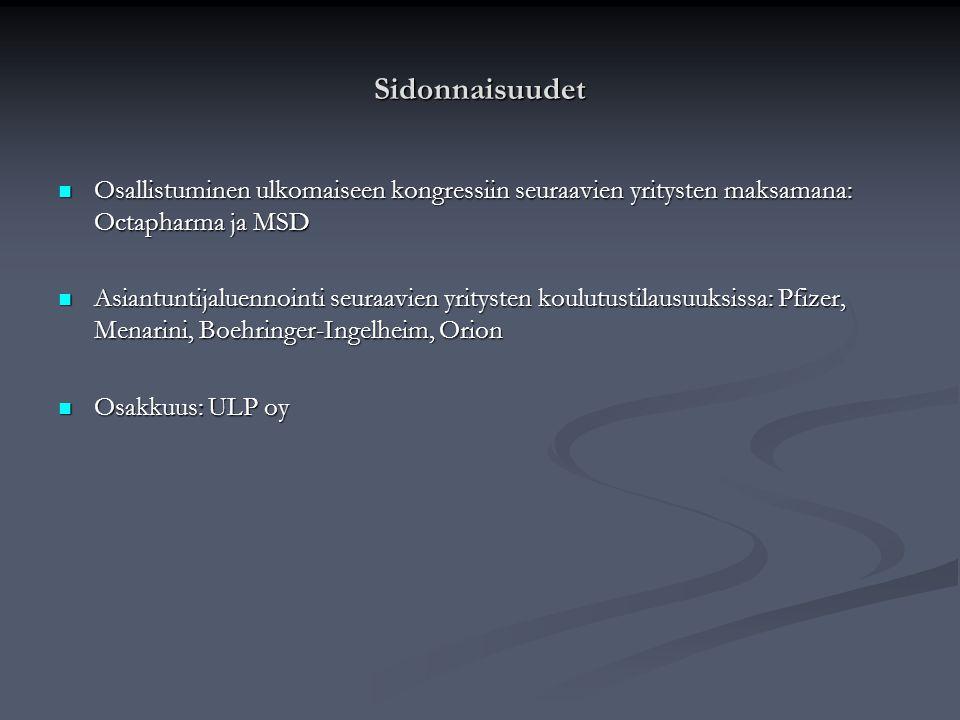 Sidonnaisuudet Osallistuminen ulkomaiseen kongressiin seuraavien yritysten maksamana: Octapharma ja MSD.
