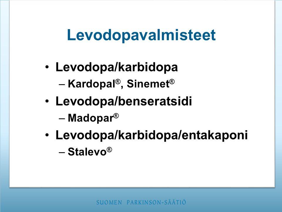 Levodopavalmisteet Levodopa/karbidopa Levodopa/benseratsidi