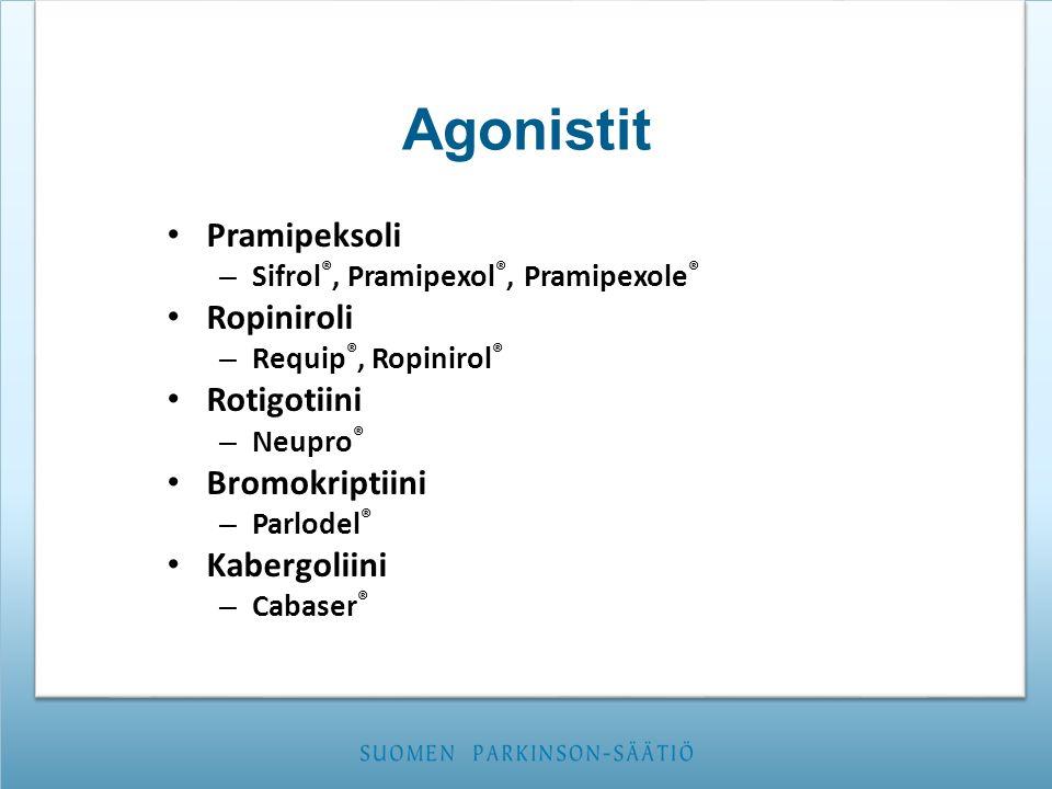 Agonistit Pramipeksoli Ropiniroli Rotigotiini Bromokriptiini