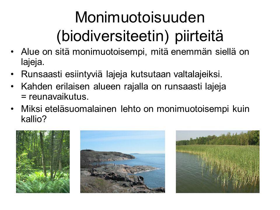 Monimuotoisuuden (biodiversiteetin) piirteitä