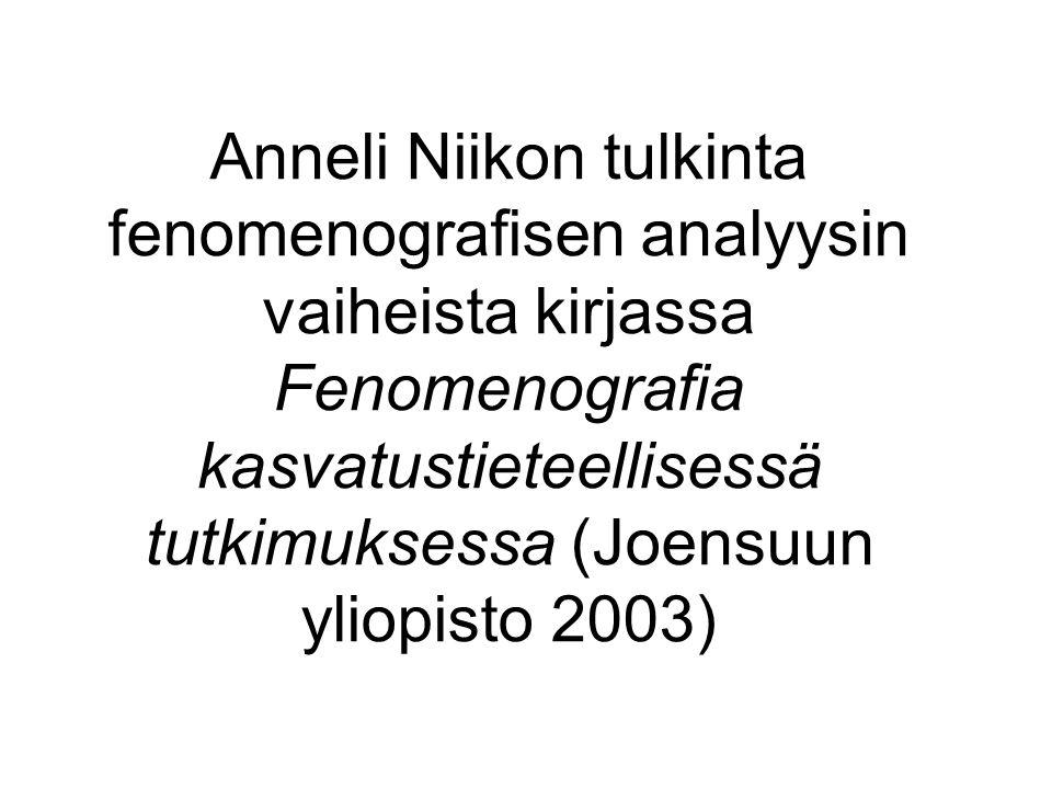 Anneli Niikon tulkinta fenomenografisen analyysin vaiheista kirjassa Fenomenografia kasvatustieteellisessä tutkimuksessa (Joensuun yliopisto 2003)