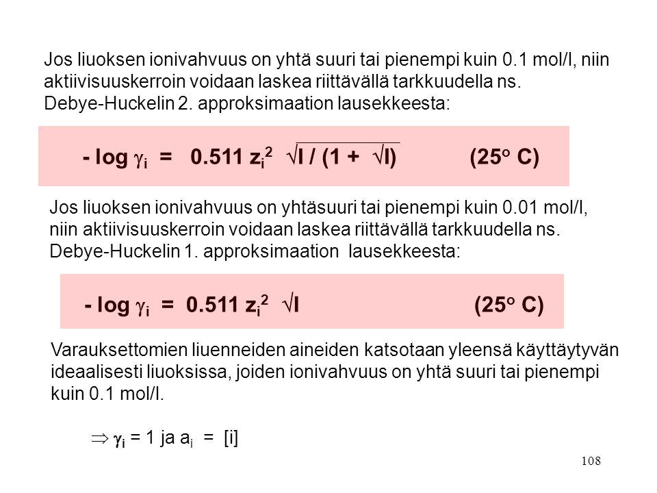 - log i = 0.511 zi2 I / (1 + I) (25o C)