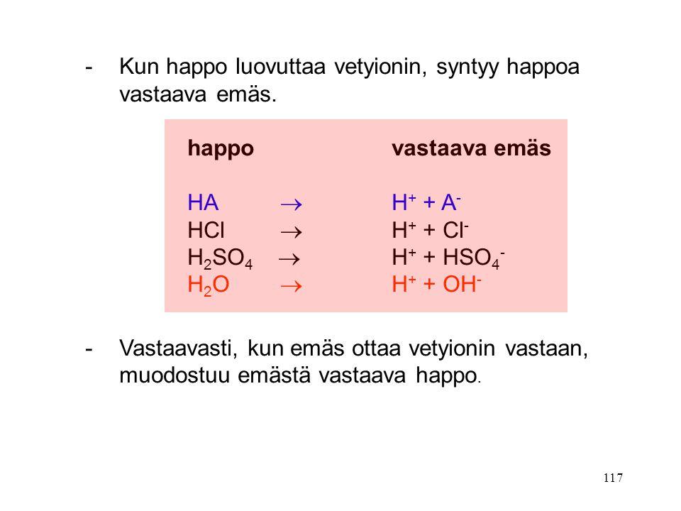 - Kun happo luovuttaa vetyionin, syntyy happoa