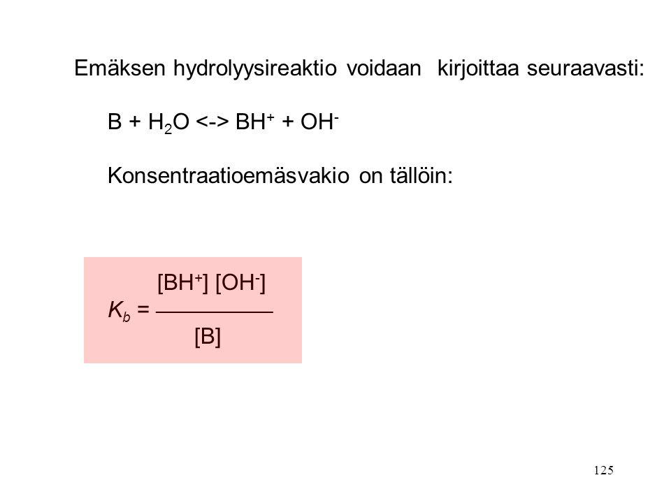 Emäksen hydrolyysireaktio voidaan kirjoittaa seuraavasti: