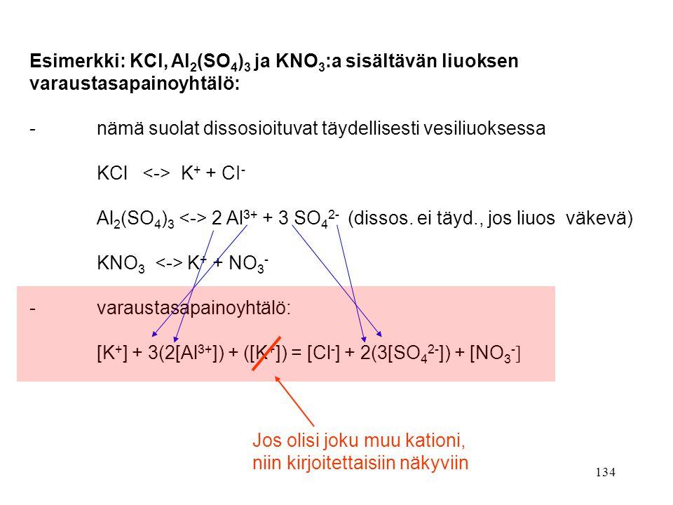 Esimerkki: KCl, Al2(SO4)3 ja KNO3:a sisältävän liuoksen