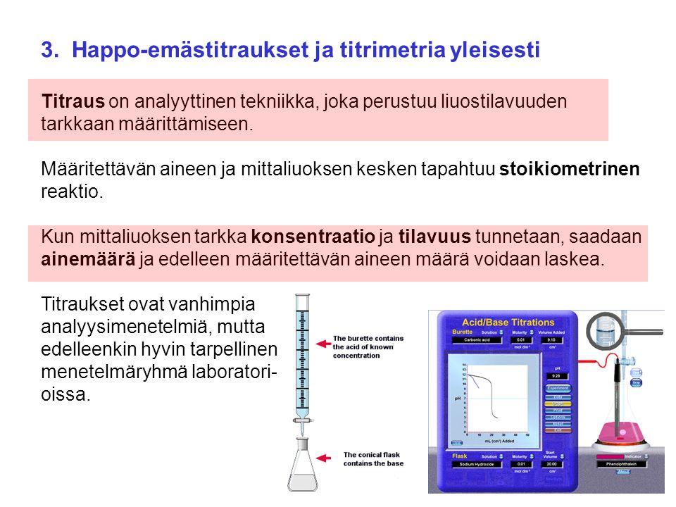3. Happo-emästitraukset ja titrimetria yleisesti