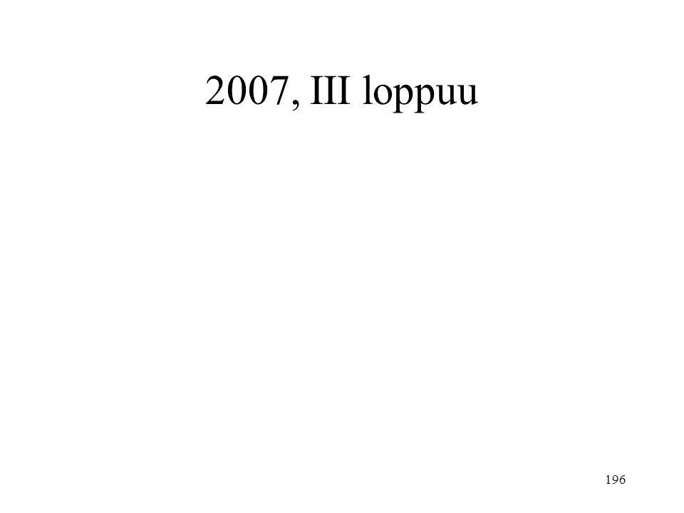 2007, III loppuu