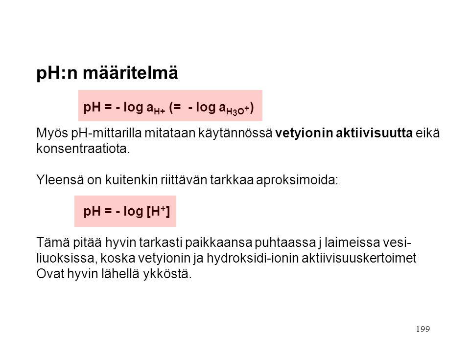 pH:n määritelmä pH = - log aH+ (= - log aH3O+)