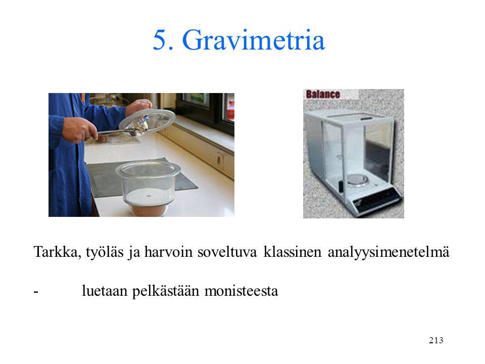 5. Gravimetria Tarkka, työläs ja harvoin soveltuva klassinen analyysimenetelmä.