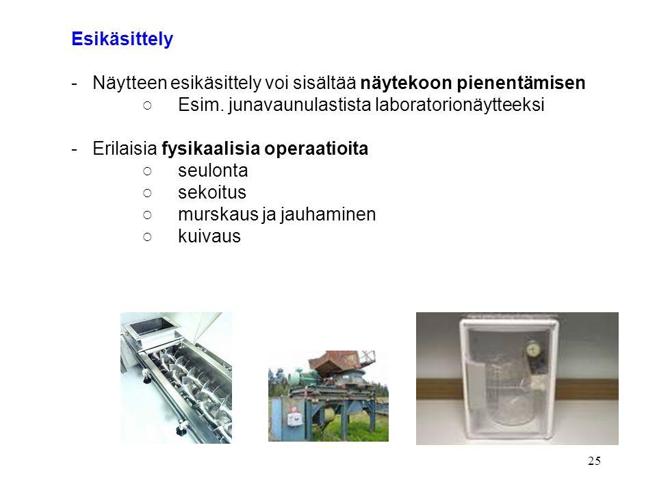 Esikäsittely - Näytteen esikäsittely voi sisältää näytekoon pienentämisen. ○ Esim. junavaunulastista laboratorionäytteeksi.